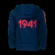 """adidas kapucnis, cipzáras pulóver, kék, gyermek """"1941"""" felirattal"""