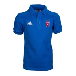 """Adidas gálapóló, galléros, kék, rövid ujjú, gyermek """"Videoton"""" címerrel"""