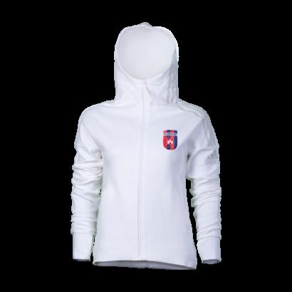 "adidas kapucnis, cipzáras pulóver, fehér, női ""MOL Fehérvár FC"" címerrel"