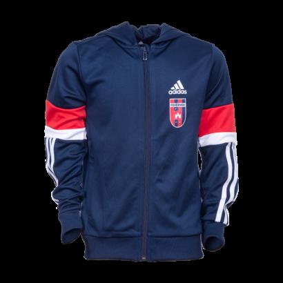 """adidas kapucnis, cipzáras pulóver, piros-kék, gyermek """"MOL Fehérvár FC"""" címerrel"""