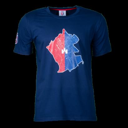 """Kereknyakú póló,kék, felnőtt """"MOL Fehérvár"""" címerrel"""