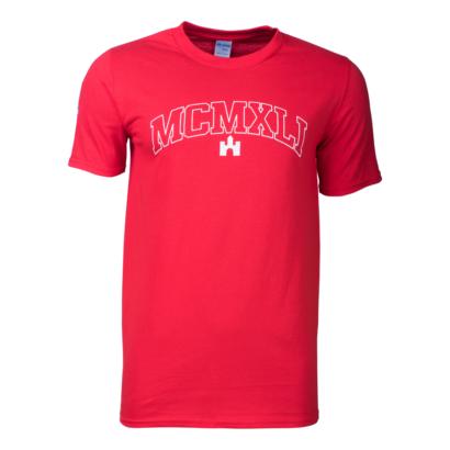"""Kereknyakú póló, piros, felnőtt""""MCMXLI"""""""