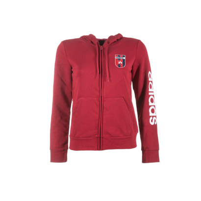"adidas kapucnis, cipzáras pulóver, piros, női ""MOL Fehérvár FC"" címerrel"