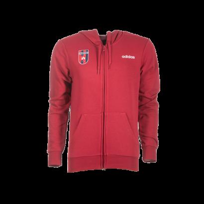 """adidas kapucnis, cipzáras pulóver, piros, felnőtt """"MOL Fehérvár FC"""" címerrel"""
