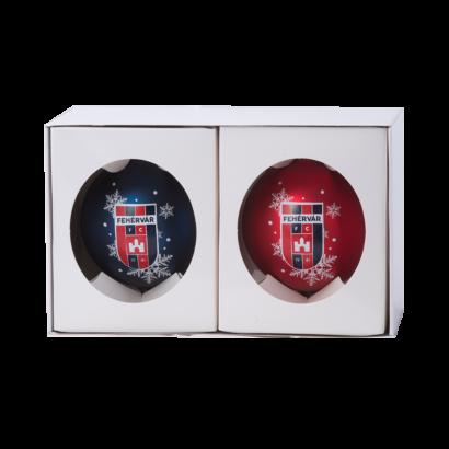 """Karácsonyfadísz szett, 2db-os """"MOL Fehérvár FC"""" címerrel"""