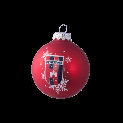 """Karácsonyfadísz, piros """"MOL Fehérvár FC"""" címerrel"""