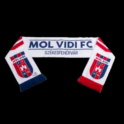 """Szurkolói sál, kétoldalas, kötött, fehér """"MOL VIDI FC"""""""