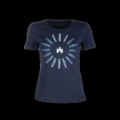 """adidas kereknyakú póló, kék, női """"fehér vár"""" logóval"""