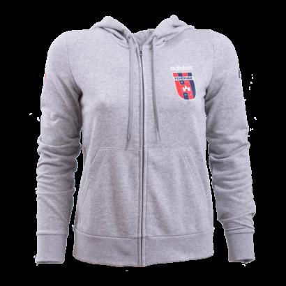 """adidas kapucnis, cipzáras pulóver, szürke, női """"MOL Fehérvár FC"""" címerrel"""