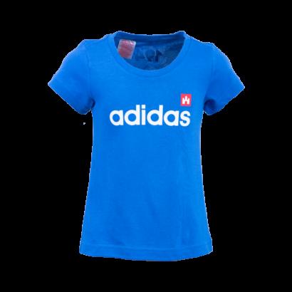 """adidas kereknyakú póló, kék, lány """"fehér vár"""" logóval"""