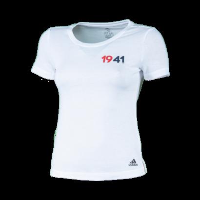 """adidas kereknyakú póló, fehér, női """"1941"""" felirattal"""