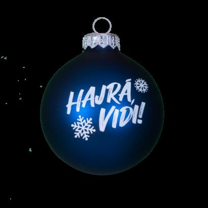 """Karácsonyfadísz, kék """"Hajrá, Vidi!"""" felirattal"""