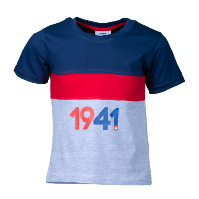 """Kereknyakú póló, kék-piros-szürke, gyermek """"1941"""" felirattal"""
