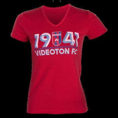 """V-nyakú póló, piros, női """"1941 Videoton FC"""""""