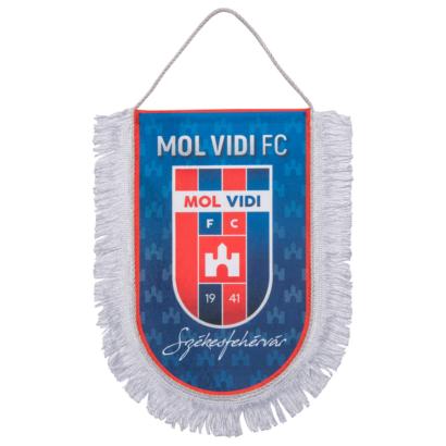 """asztali nagy zászló, selyem """"mol vidi fc"""" címerrel"""