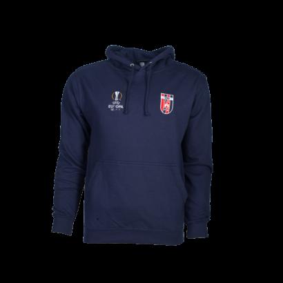 kapucnis, kenguruzsebes pulóver, kék, gyermek, Europa league