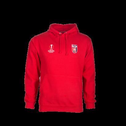 kapucnis, kenguruzsebes pulóver, piros, felnőtt, Europa league
